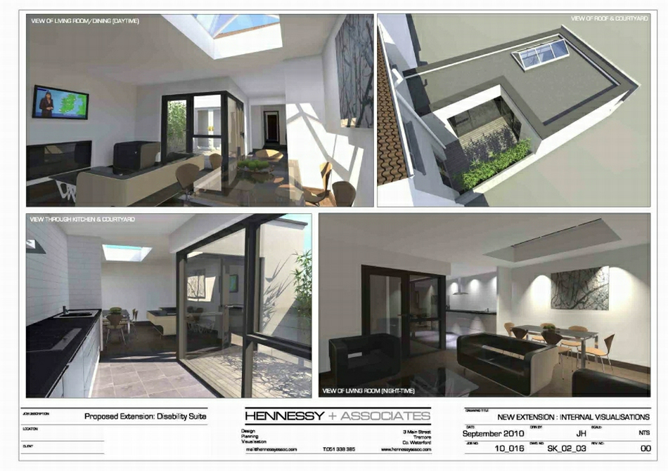 3d Visualisations : Kitchen/Living/Dining & Courtyard