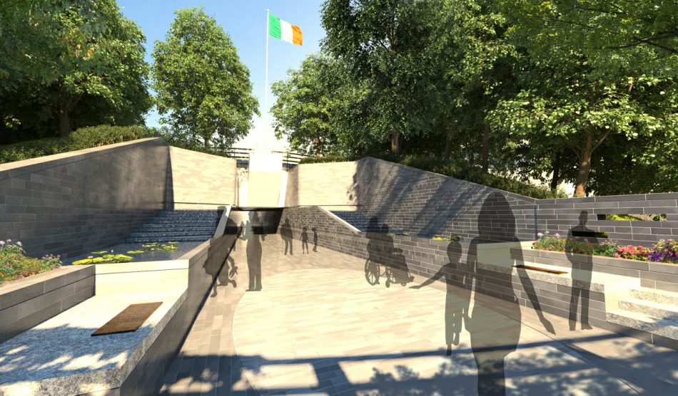 3d Visualisation : View from Parnell Square West back towards covered walkway