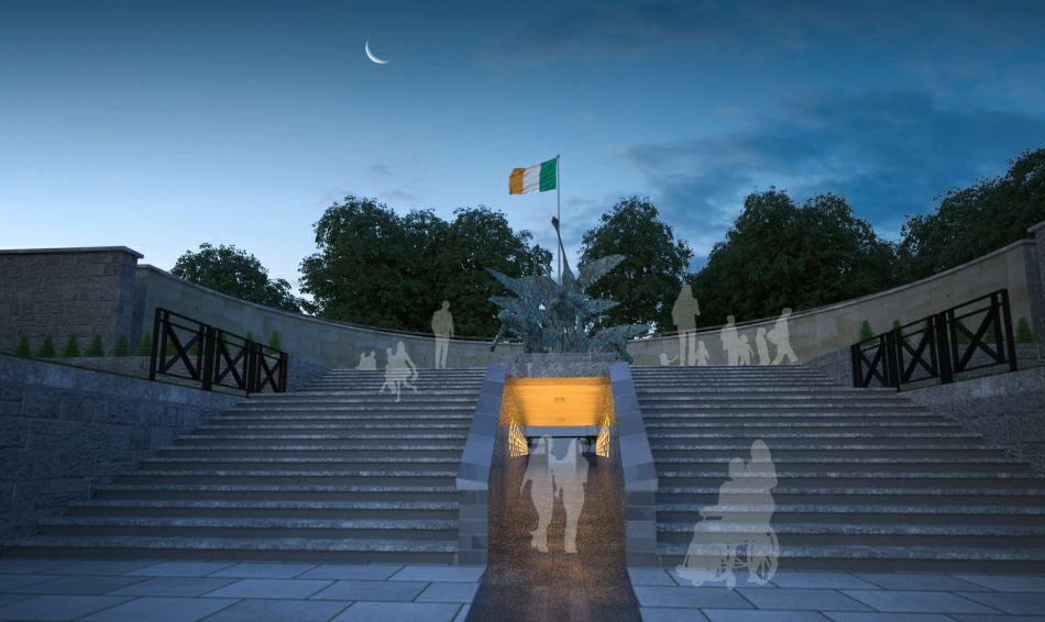 3d Visualisation : View from existing Garden of Remembrance at dusk