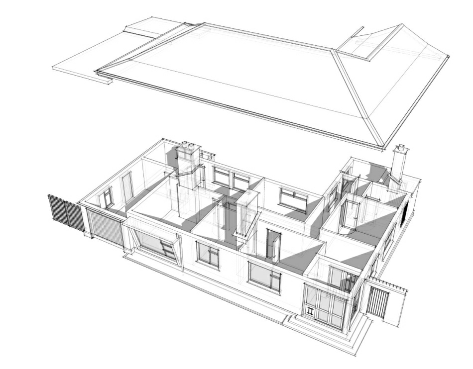 Existing Bungalow: exploded view