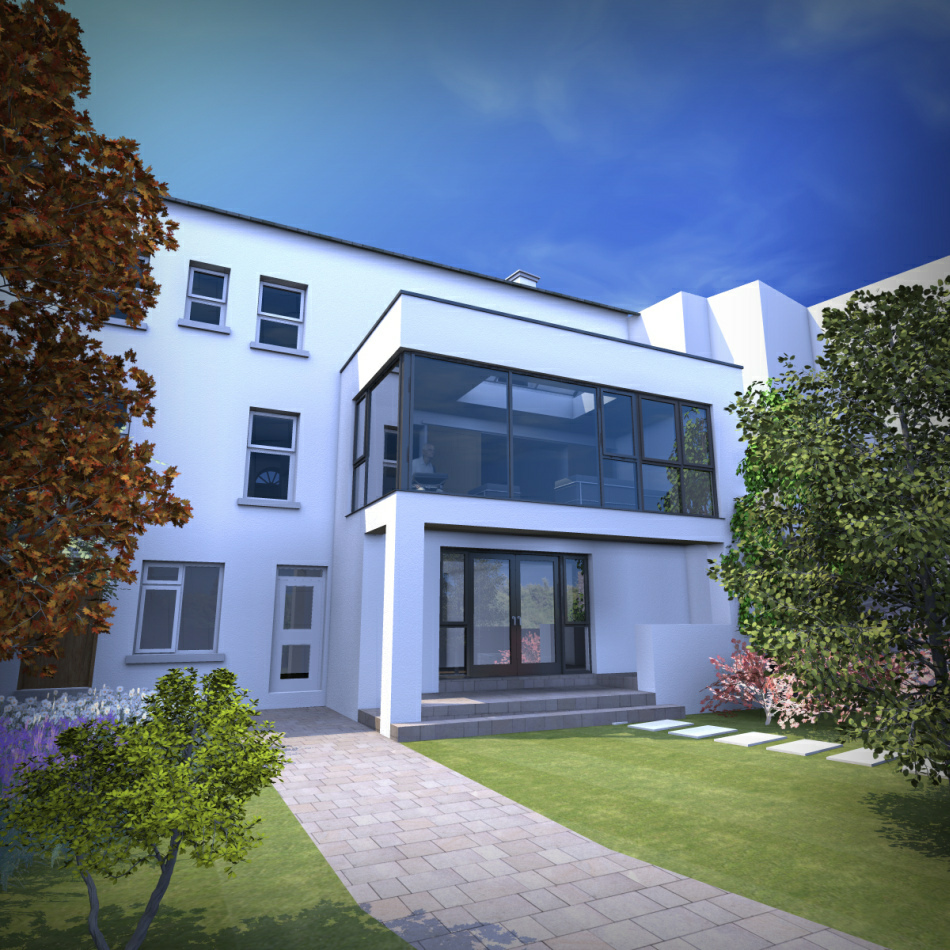 3d Visualisations : Rear elevation indicating new 2 storey extension