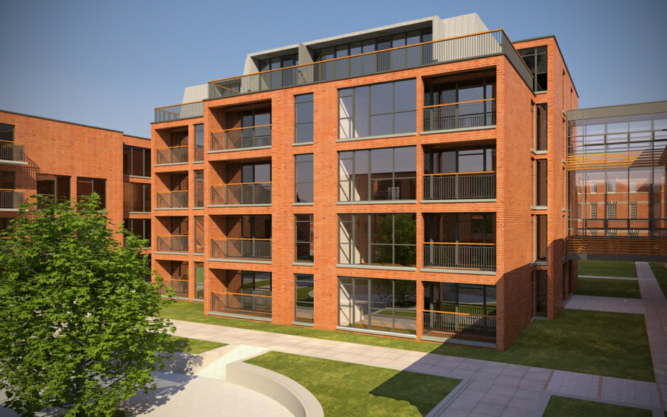 3d Visualisation : New build residenital block to existing courtyard