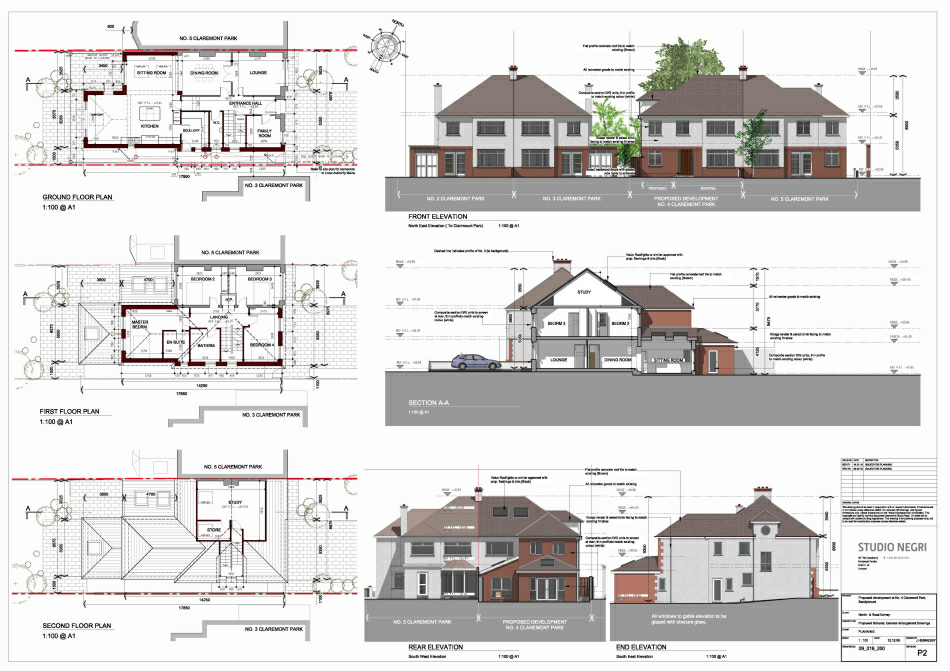 Elevation Plan And Cross Section : Residential house plan section elevation
